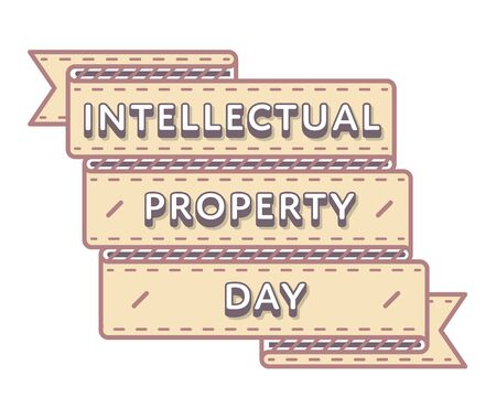 intellectual: World Intellectual Property day emblem isolated illustration on white background. 26 april world holiday event label, greeting card decoration graphic element