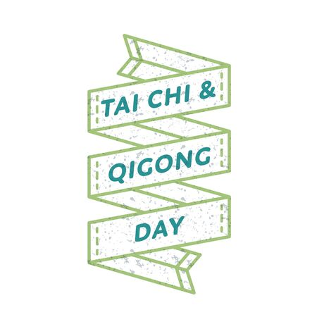 qigong: Tai Chi and Qigong day emblem isolated illustration on white background. 29 april world healthcare holiday event label, greeting card decoration graphic element