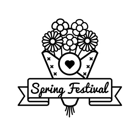 Happy Spring festival greeting emblem Illustration