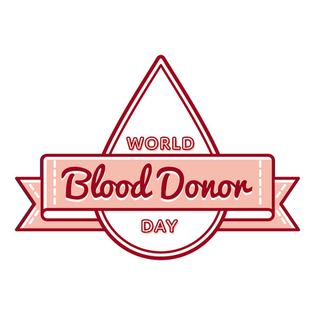 donation drive: World Blood Donor day emblem isolated illustration on white background. Stock Photo
