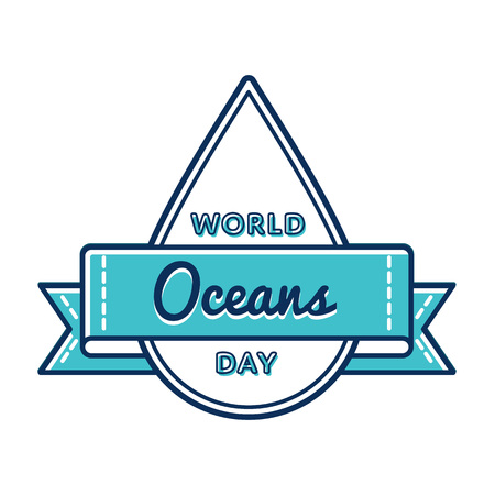 sea pollution: World Oceans day emblem isolated illustration on white background. 8 june global ecology holiday event label, greeting card decoration graphic element