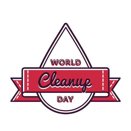 World Cleanup day emblem isolated illustration on white background.