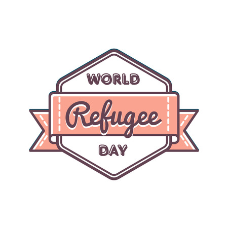 resettlement: World Refugee day emblem isolated illustration on white background.