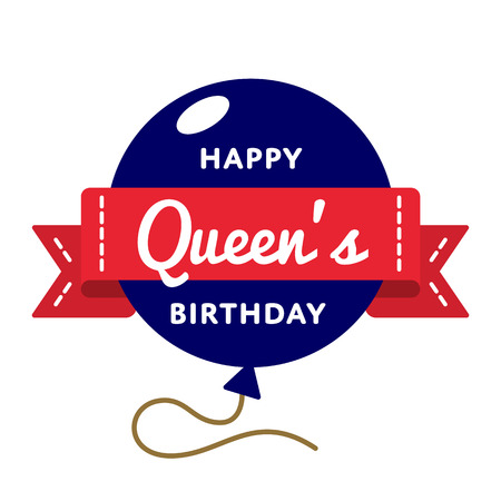 Happy Queens birthday emblem isolated illustration on white background.