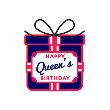 Happy Queens birthday emblem isolated illustration on white background. 10 june british holiday event label, greeting card decoration graphic element