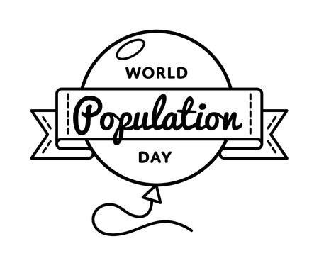populace: World Population Day greeting emblem
