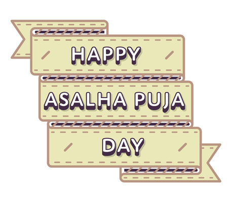 Happy Asalha Puja Day greeting emblem
