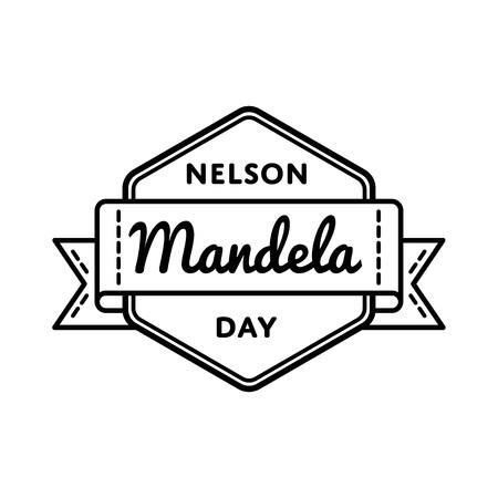Nelson Mandela day greeting emblem