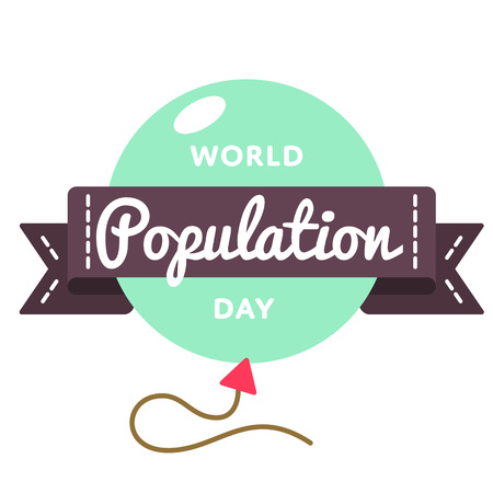 populace: World Population Day greeting emblem.