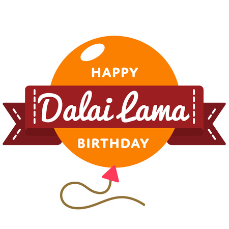 Happy Dalai Lama Birthday greeting emblem
