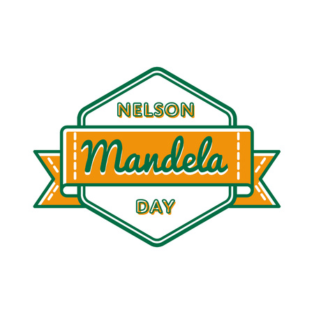 Nelson Mandela day greeting emblem