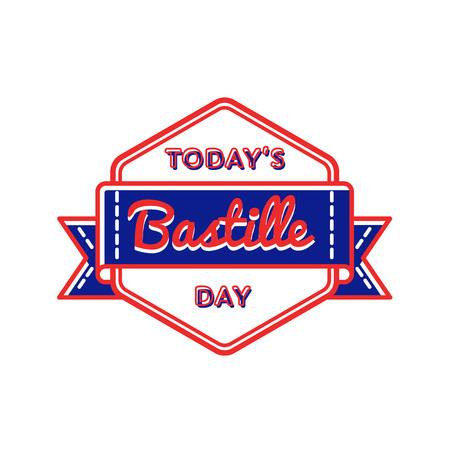 Today Bastille day greeting emblem Vector Illustration