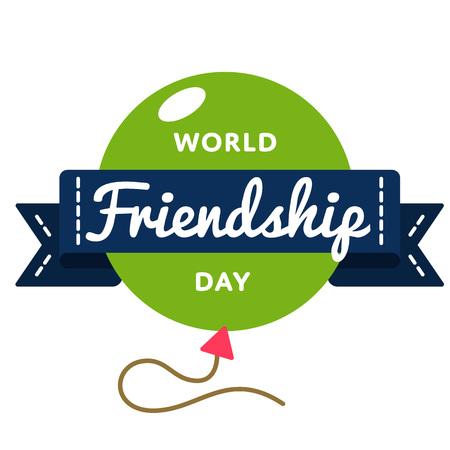 世界友情の日グリーティング エンブレム  イラスト・ベクター素材