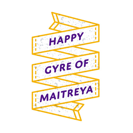 Happy Gyre of Maitreya Day greeting emblem Illusztráció