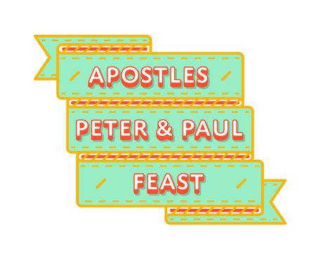 Apostles Peter & Paul Feast greeting emblem Stock Vector - 77347637