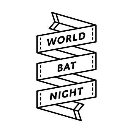World Bat Night day emblem isolated vector illustration on white background. 26 august animal rights protection holiday event label, greeting card decoration graphic element