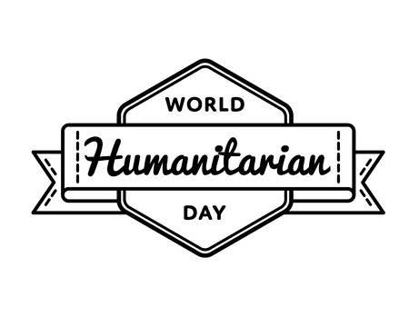 humane: World Humanitarian day emblem isolated vector illustration on white background. 19 august global social holiday event label, greeting card decoration graphic element