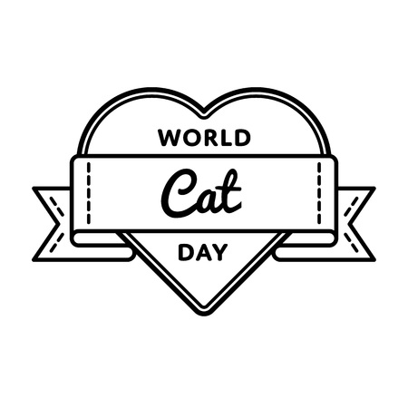 World Cat day emblem isolated vector illustration on white background. 8 august animal rights protection holiday event label, greeting card decoration graphic element