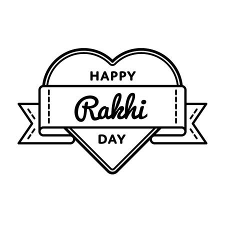 raksha: Happy Rakhi day emblem isolated vector illustration on white background. 7 august indian national holiday event label, greeting card decoration graphic element