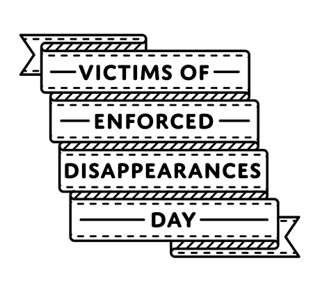 Victims of Enforced Disappearances day emblem isolated vector illustration on white background. 30 august world holiday event label, greeting card decoration graphic element Illustration