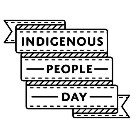 先住民族の人々 日分離エンブレム ベクトル イラスト白い背景の上。9 月世界社会の休日イベント ラベル、グリーティング カードの装飾グラフィッ