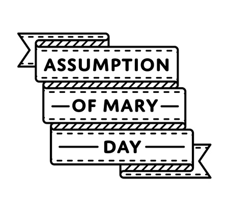 Veronderstelling van Mary Day-embleem geïsoleerde vectorillustratie op witte achtergrond. 15 augustus etiket van de de vakantiegebeurtenis van de wereld het katholieke, grafische element van de groetkaartdecoratie Stockfoto - 79761936