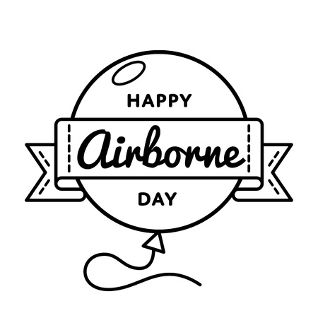 Happy Airborne Day emblem isolated vector illustration on white background. 16 august USA patriotic holiday event label, greeting card decoration graphic element Illustration