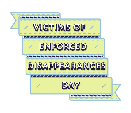 Victims of Enforced Disappearances day emblem isolated vector illustration on white background. 30 august world holiday event label, greeting card decoration graphic element Ilustrace
