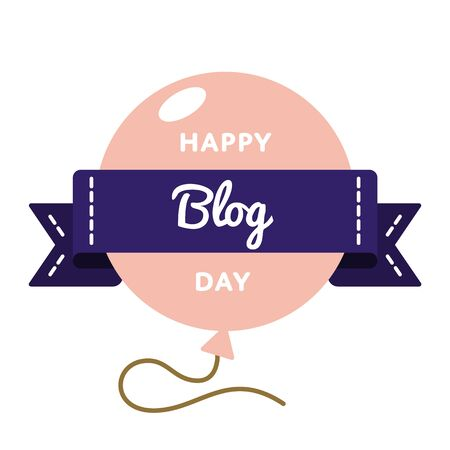Happy Blog day emblem isolated vector illustration on white background. 31 august world social media holiday event label, greeting card decoration graphic element