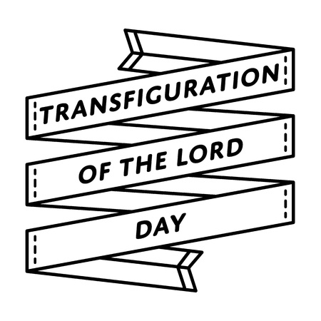 Transfiguratie van de Lord Day-embleem geïsoleerde vectorillustratie op witte achtergrond. 6 augustus katholieke vakantie evenement label, wenskaart decoratie grafisch element Stockfoto - 79762343