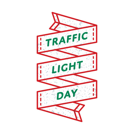 World Traffic Light day emblem isolated vector illustration on white background. 5 august global holiday event label, greeting card decoration graphic element
