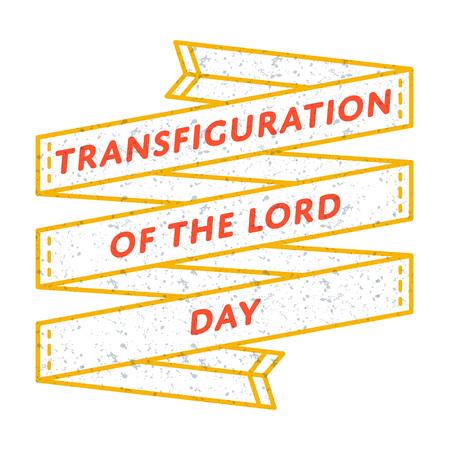 主日エンブレムの変貌は、白の背景にベクトル画像を分離しました。6 8 月カトリック休日イベント ラベル、グリーティング カードの装飾グラフィ