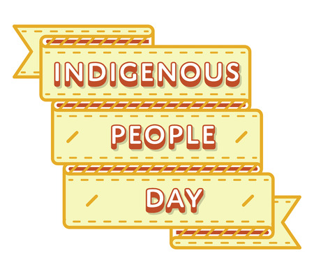 Indigenous People day emblem isolated vector illustration on white background. 9 august world social holiday event label, greeting card decoration graphic element