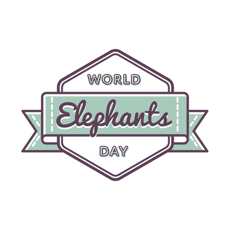World Elephants day emblem isolated vector illustration on white background. 22 september animal rights protection holiday event label, greeting card decoration graphic element Illustration