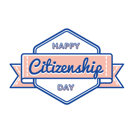 Happy Citizenship Day emblem isolated vector illustration on white background. 17 september USA patriotic holiday event label, greeting card decoration graphic element Illustration