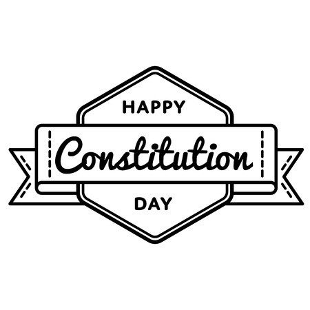 Happy Constitution Day emblem isolated vector illustration on white background. 17 september USA patriotic holiday event label, greeting card decoration graphic element