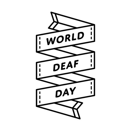 World Deaf day emblem isolated vector illustration on white background. 24 september world healthcare holiday event label, greeting card decoration graphic element