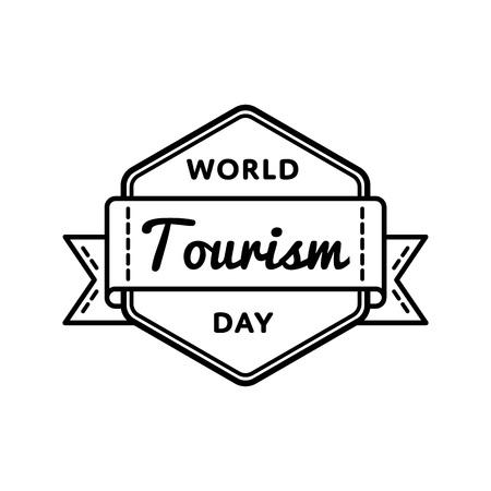 World Tourism day emblem isolated vector illustration on white background. 27 september global holiday event label, greeting card decoration graphic element Illustration