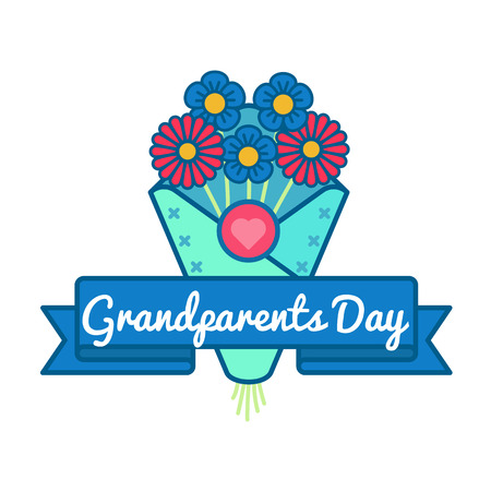 Grandparents day emblem isolated vector illustration on white background. 10 september canadian family holiday event label, greeting card decoration graphic element Illustration
