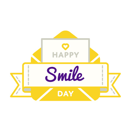 Happy Smile Birthday emblem isolated vector illustration on white background. 19 september world positive holiday event label, greeting card decoration graphic element Illustration