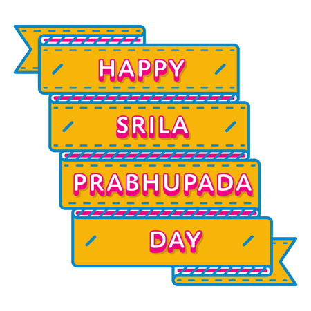 Happy Srila Prabhupada Day emblem isolated vector illustration on white background. 1 september indian holiday event label, greeting card decoration graphic element