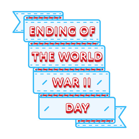 Ending of the World War II day emblem isolated vector illustration on white background. 2 september russian holiday event label, greeting card decoration graphic element