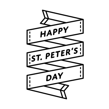 Happy St. Peters Day emblem isolated vector illustration on white background. 6 september orthodox holiday event label, greeting card decoration graphic element