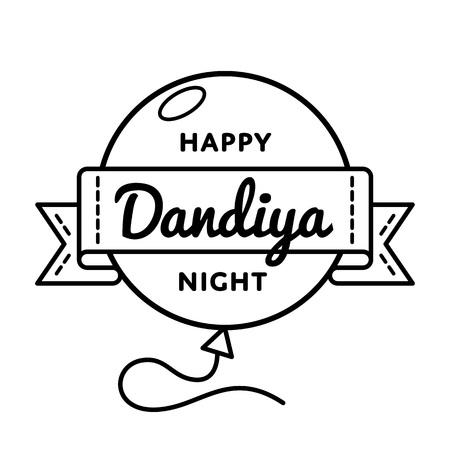 Happy Dandiya Night emblem isolated vector illustration on white background. 23 september asian dance holiday event label, greeting card decoration graphic element Illustration