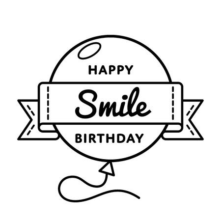 humane: Happy Smile Birthday emblem isolated vector illustration on white background. 19 september world positive holiday event label, greeting card decoration graphic element Illustration