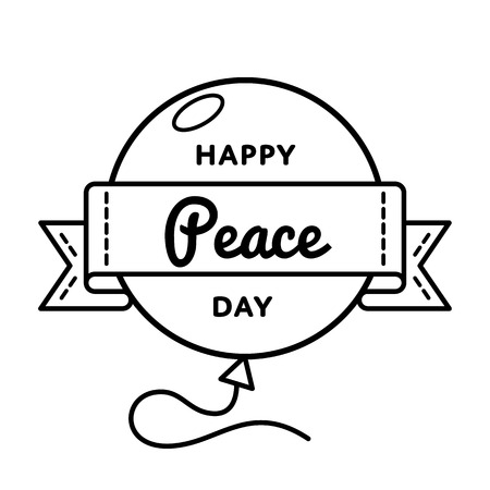 Happy Peace day emblem isolated vector illustration on white background. 21 september world holiday event label, greeting card decoration graphic element Illustration