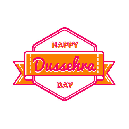 Happy Dussehra day emblem isolated vector illustration on white background. 30 september indian holiday event label, greeting card decoration graphic element
