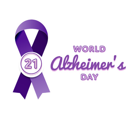 World Alzheimers day emblem isolated vector illustration on white background. 21 september world healthcare holiday event label, greeting card decoration graphic element