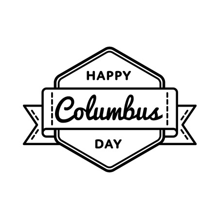 Happy Columbus day emblem isolated vector illustration on white background. 9 october american national holiday event label, greeting card decoration graphic element Illustration