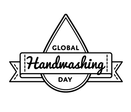 Global Handwashing day emblem isolated vector illustration on white background. 15 october world healthcare holiday event label, greeting card decoration graphic element